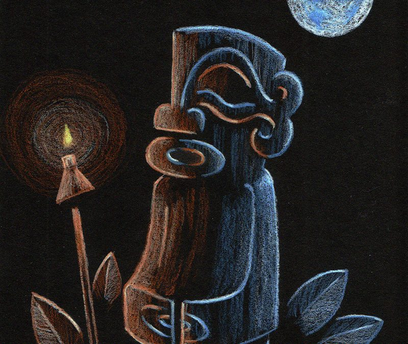 Tiki on Black Paper w/Eric October